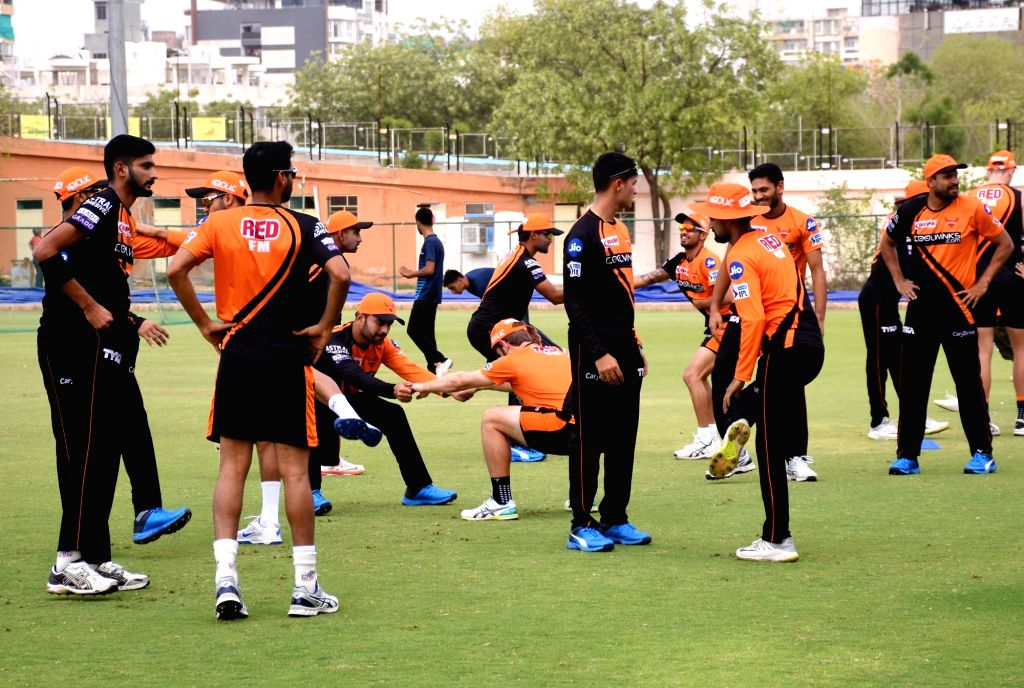 Players of Sunrisers Hyderabad during a practice session  ahead of an IPL 2019 match against Rajasthan Royals, at Sawai Mansingh Stadium in Jaipur, on April 26, 2019.