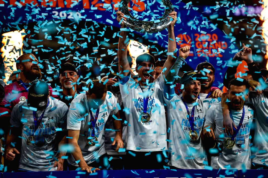 Players of Sydney FC celebrate during the awarding ceremony for the 2019/2020 season A-League in Sydney, Australia, Aug. 30, 2020. Sydney FC claimed a historic fifth ...
