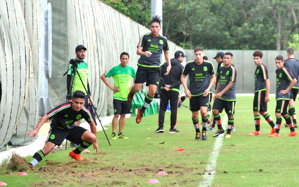 Players of the Mexican team in action during a practice session ahead of the FIFA U-17 World Cup India 2017 at the Sports Authority of India (SAI) ground in Kolkata on Oct 5, 2017.