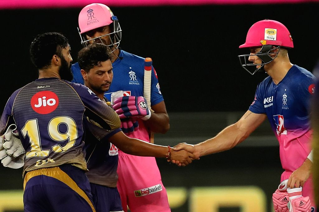 Players shake after the match during match 12 of season 13 of the Dream 11 Indian Premier League (IPL) between the Rajasthan Royals and the Kolkata Knight Riders held at the Dubai ...