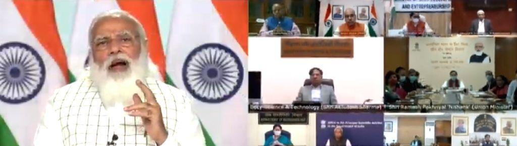 PM Modi addresses webinar on implementation of Budget in education sector.