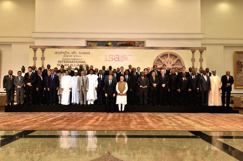 PM Modi at family photo of Founding Conference of International Solar Alliance in 2018.
