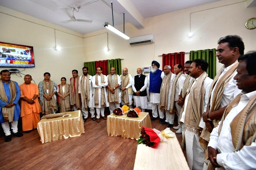 PM Modi files his nomination to contest 2019 Lok Sabha elections from Varanasi seen along with senior leaders of BJP and NDA.