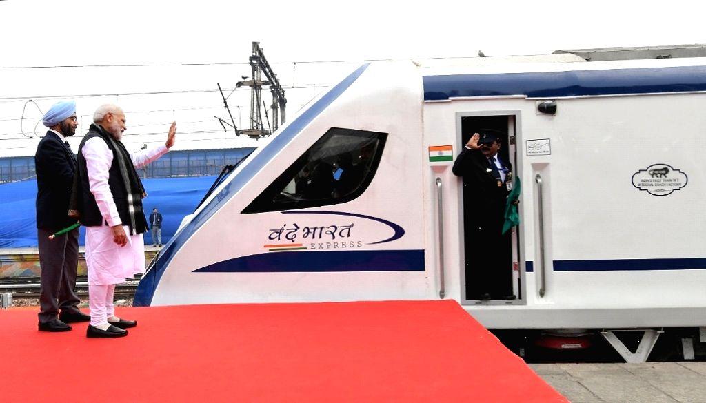 PM Modi flags off India???s first semi high speed rail Vande Bharat express in 2019.