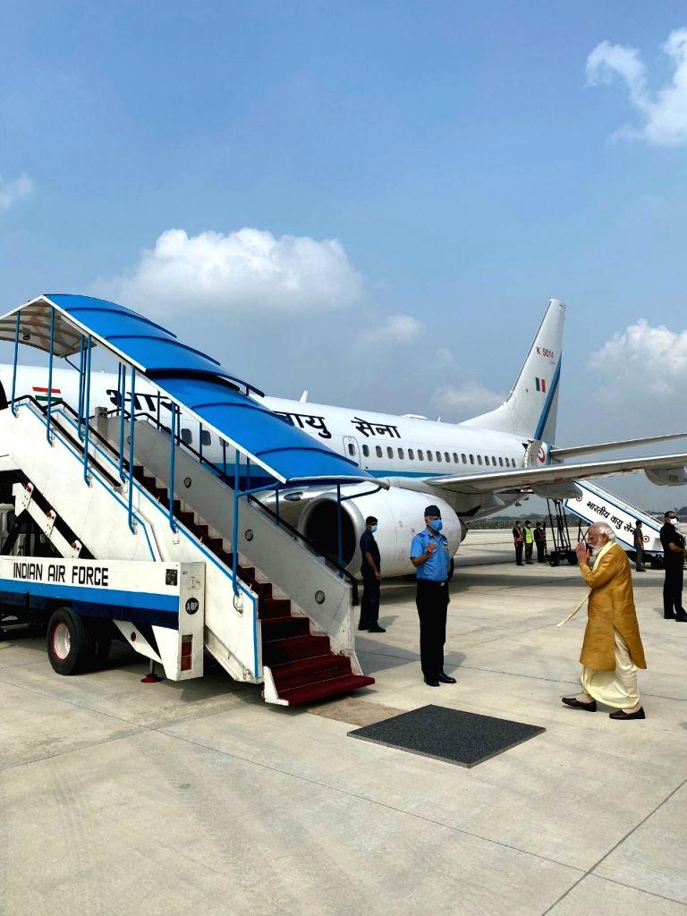 PM Modi leaves for Ayodhya.
