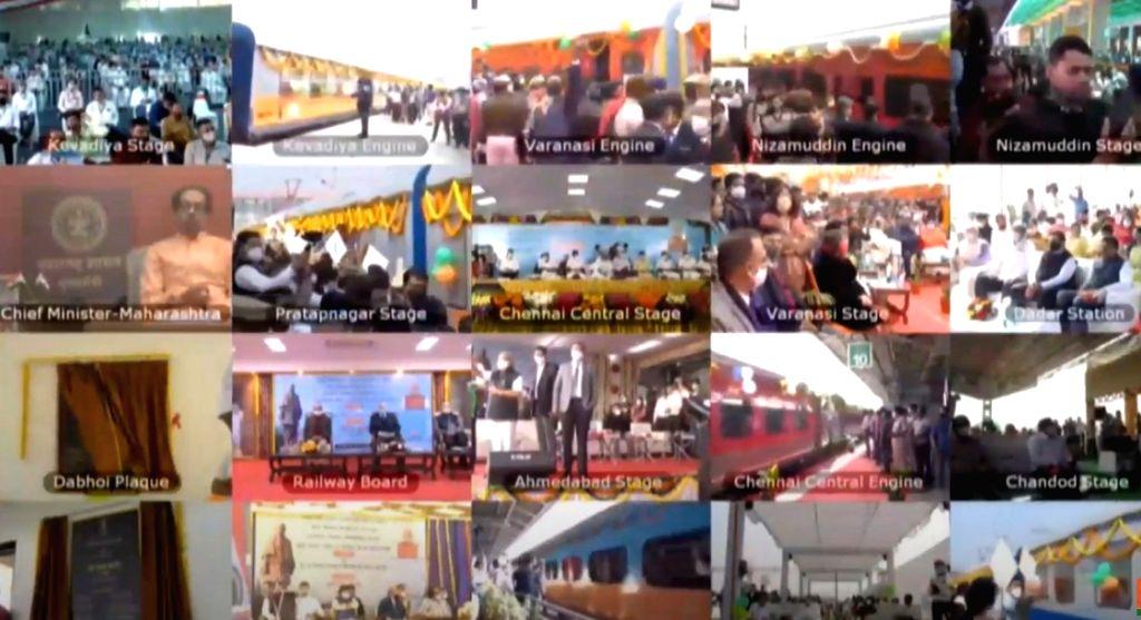 PM Narendra Modi flags off eight trains connecting Statue of Unity via video conferencing. - Narendra Modi