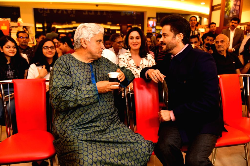 """Poet, lyricist and screenwriter Javed Akhtar and actor Anil Kapoor at the launch of journalist and author Khalid Mohamed's book """"The Aladia Sisters"""" in Mumbai on Oct 7, 2019. - Anil Kapoor"""
