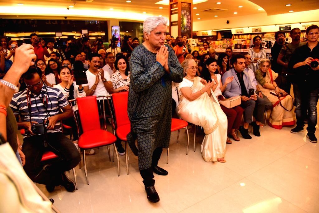 "Poet, lyricist and screenwriter Javed Akhtar at the launch of journalist and author Khalid Mohamed's book ""The Aladia Sisters"" in Mumbai on Oct 7, 2019."