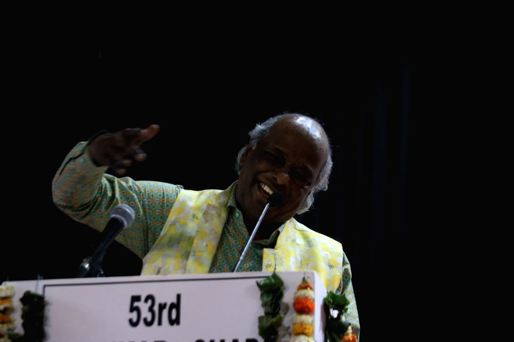 Poet Rahat Indori during a 'mushaira' - Urdu poetry reading session - in New Delhi, on March 16, 2019.