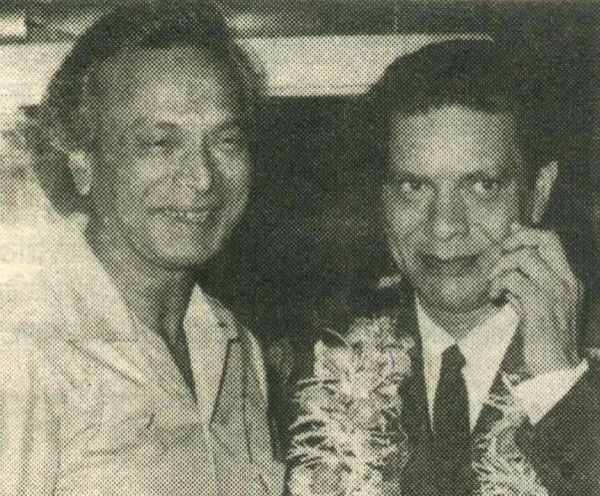 Poet Shakeel Badayuni with music composer Naushad, which was responsible for some of the most memorable Hindi film songs