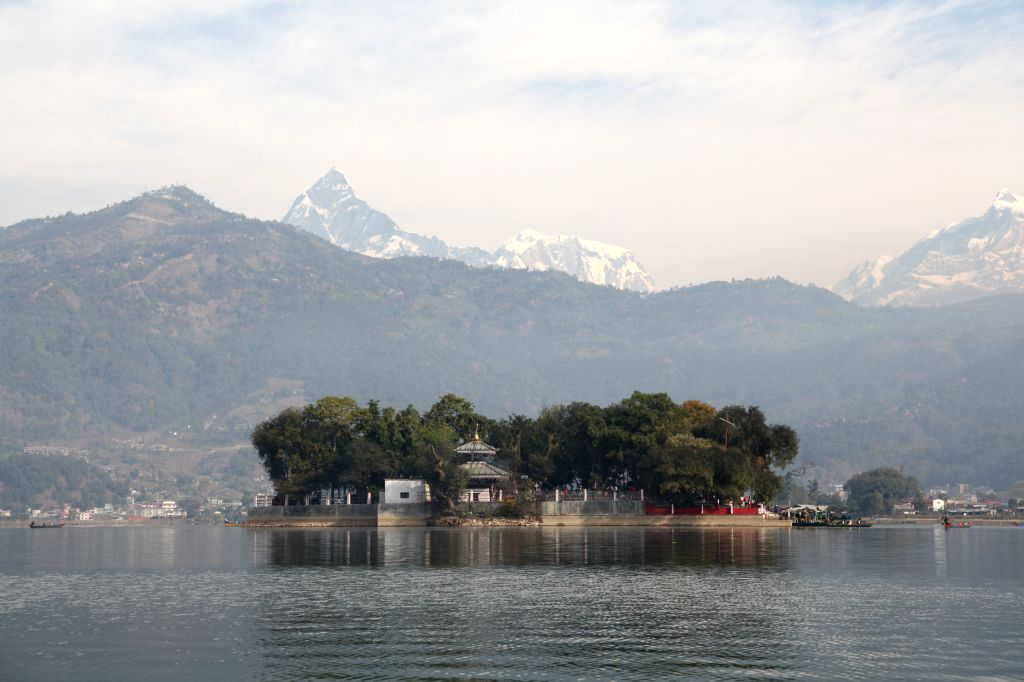 Photo taken on Jan. 25, 2015 shows Barahi temple located on an island of Fewa lake in Pokhara, Nepal.