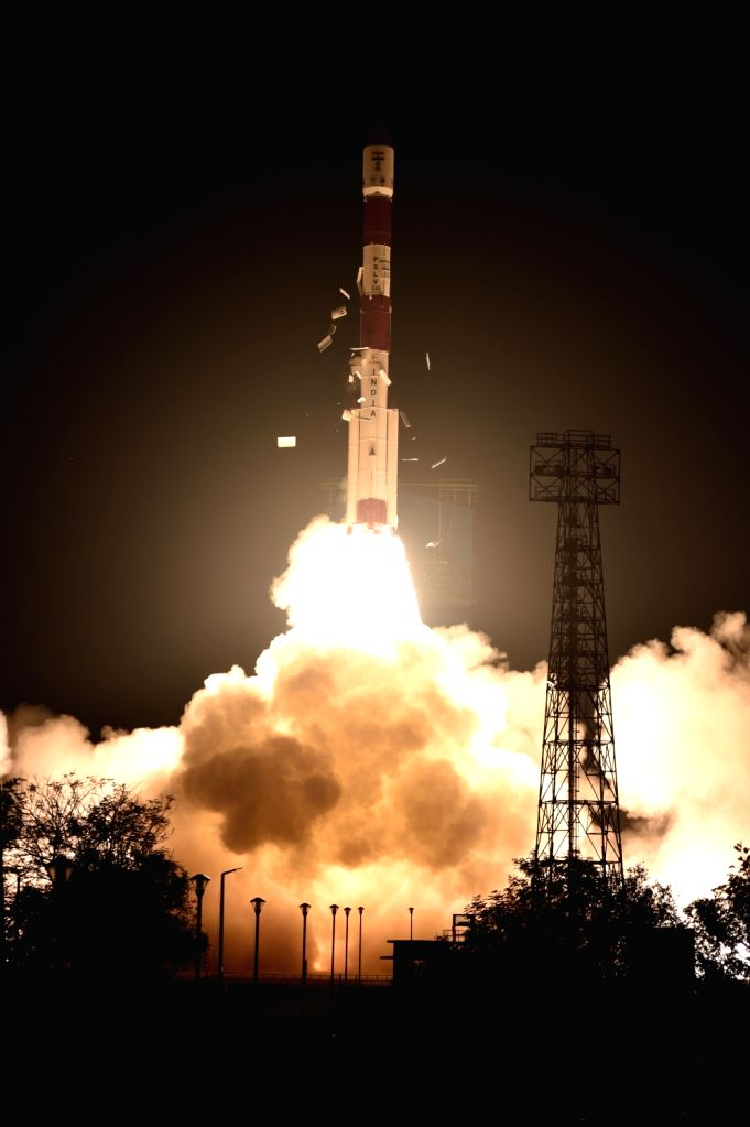 """Polar Satellite Launch Vehicle (PSLV) 44 carrying Defence Research and Development Organisation's (DRDO) """"Microsat R"""" and """"Kalamsat""""  lifts off from Sriharikota, ..."""