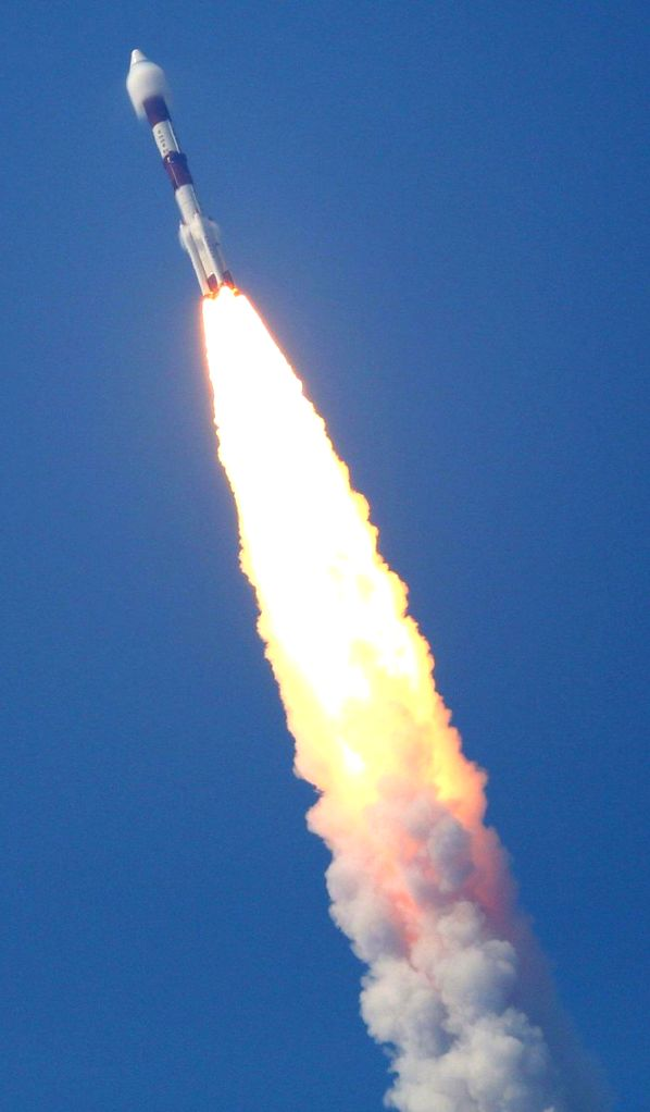 Polar Satellite Launch Vehicle (PSLV) rocket carrying the electronic intelligence satellite, Emisat for the Defence Research Development Organisation (DRDO) and 28 other third party ...