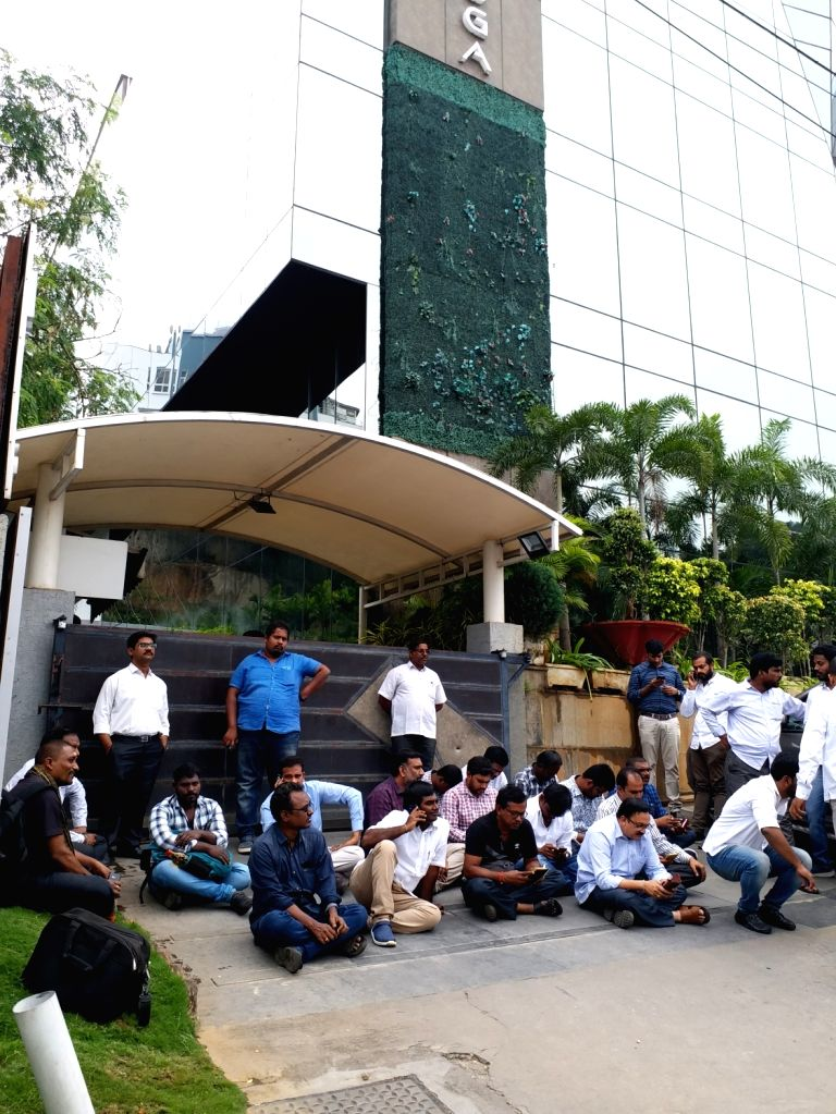 Polavaram project subcontractors stage a demonstration to press for their various demands, outside the office building of Navayuga Engineering Company in Hyderabad on Nov 15, 2019.