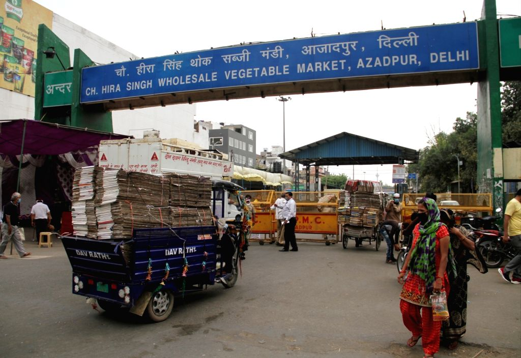 Police barricades put up at Delhi's Azadpur Subzi Mandi during the extended nationwide lockdown imposed to mitigate the spread of coronavirus; on Apr 23, 2020.