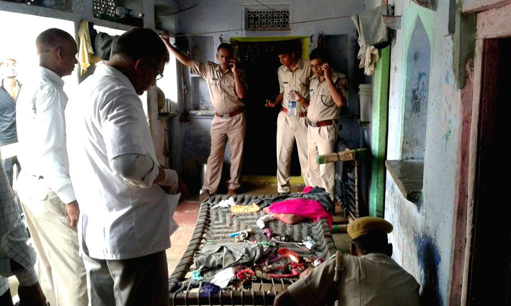 : Police carry out investigations at the site where a blast took place in the bag of a school student in Dausa of Rajasthan on Aug 5, 2016.