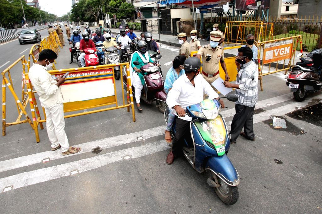 Police check up vehicles in Chennai on Monday, 24 May, 2021.