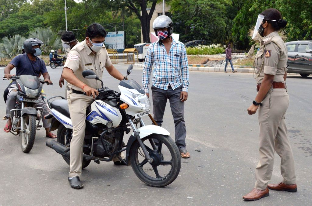 Police Checkpoint at KR Circle during lockdown in the wake of the 2nd wave of COVID-19, in Bengaluru on Saturday, 8th May, 2021.