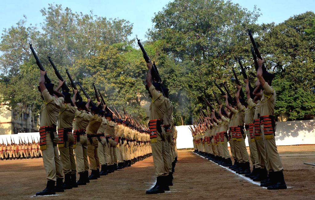 Police Commemoration Day parade underway at Bhoiwada police ground in Mumbai on Oct 21, 2016.
