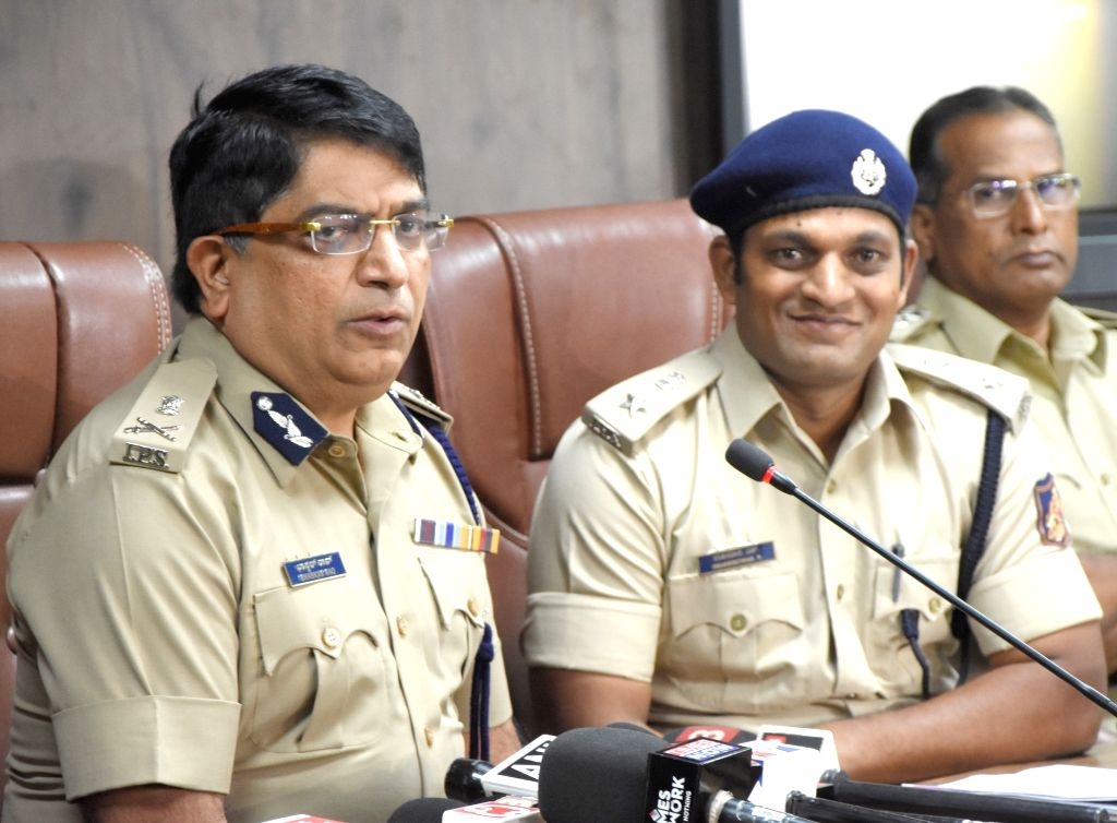 Police Commissioner Bhaskar Rao at a press conference after Alliance University Chancellor and Co-founder Sudhir Angur and employee Suraj Singh were arrested for murdering Ayyappa R. Dore, ... - Commissioner Bhaskar Rao and Suraj Singh