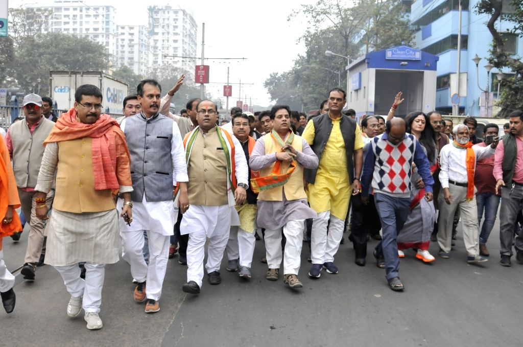 Police detained, BJP activists during BJP organised 'Abhinandan Jatra' in Kolkata on Feb 07, 2020.