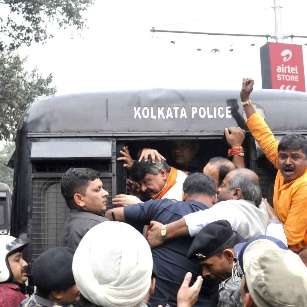Police detained, National General Secretary of the Bharatiya Janata Party (BJP),  Kailash Vijaywargiya during BJP organised 'Abhinandan Jatra' in Kolkata on Feb 07, 2020.