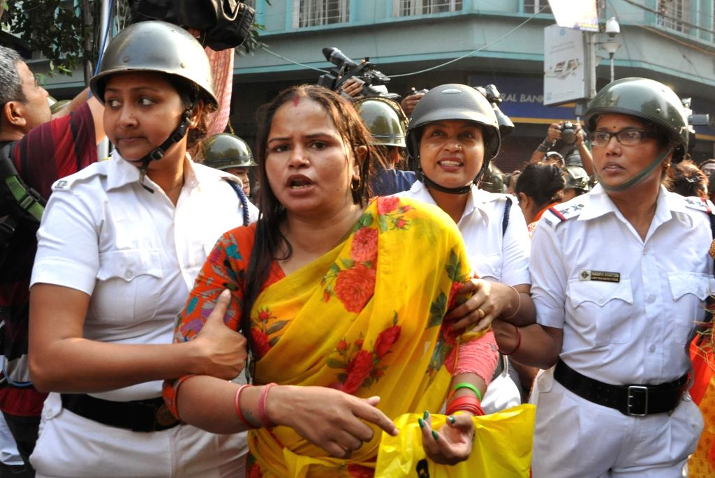 Police detains BJP workers protesting against spurt in dengue cases, in Kolkata on Nov 13, 2019.