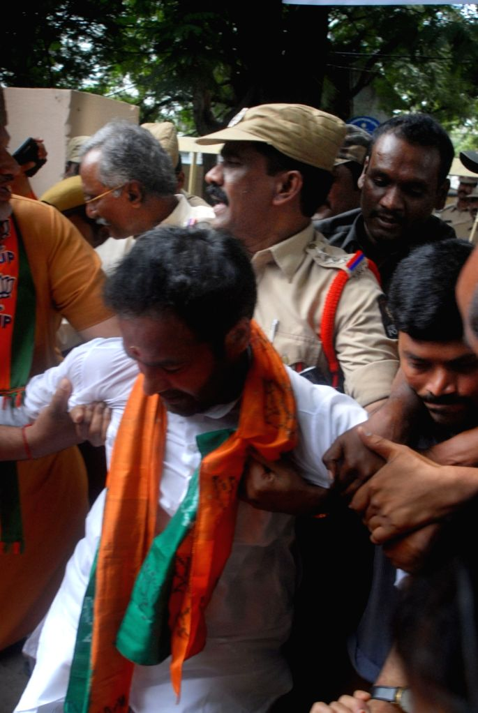 Police detains BJP workers while they were staging a protest demanding the State government to observe September 17 as Telangana Liberation Day at district Collectorate in Karimnagar, ...