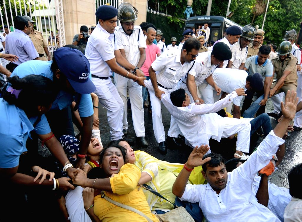 Police detains Congress workers protesting against the Central Government over the arrest of senior party leader and Former Finance Minister P. Chidambaram, outside Raj Bhavan in Kolkata on ... - P. Chidambaram