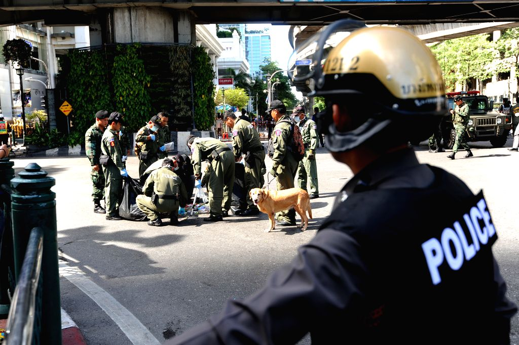 Police investigate the scene at the Erawan Shrine the day after an explosion in Bangkok, Thailand, Aug. 18, 2015. The death toll in a Bangkok explosion on Monday ...