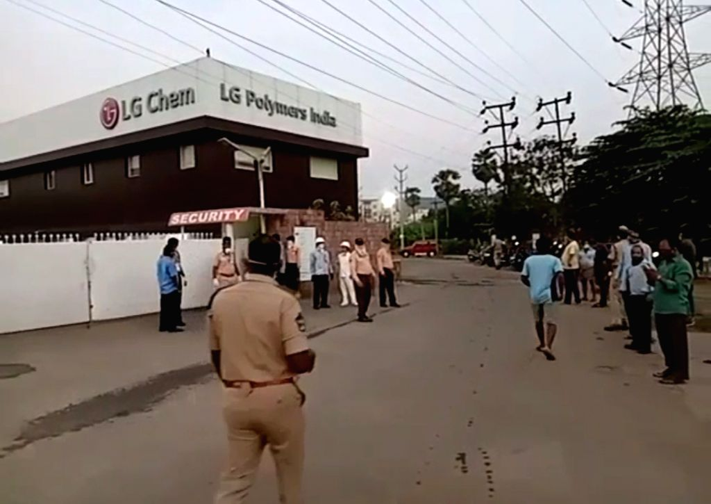 Police personnel at the LG Polymers unit located at RR Venkatapuram near Gopalapatnam in Visakhapatnam, Andhra Pradesh where gas leakage left one minor among 7 people dead, more than ...