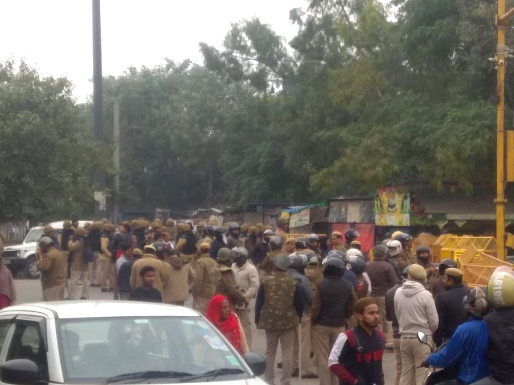 Police personnel at the site in North East Delhi's Seelmapur where a protest against the Citizenship Amendment Act (CAA) 2019 turned violent after protesters pelted stones at police ...