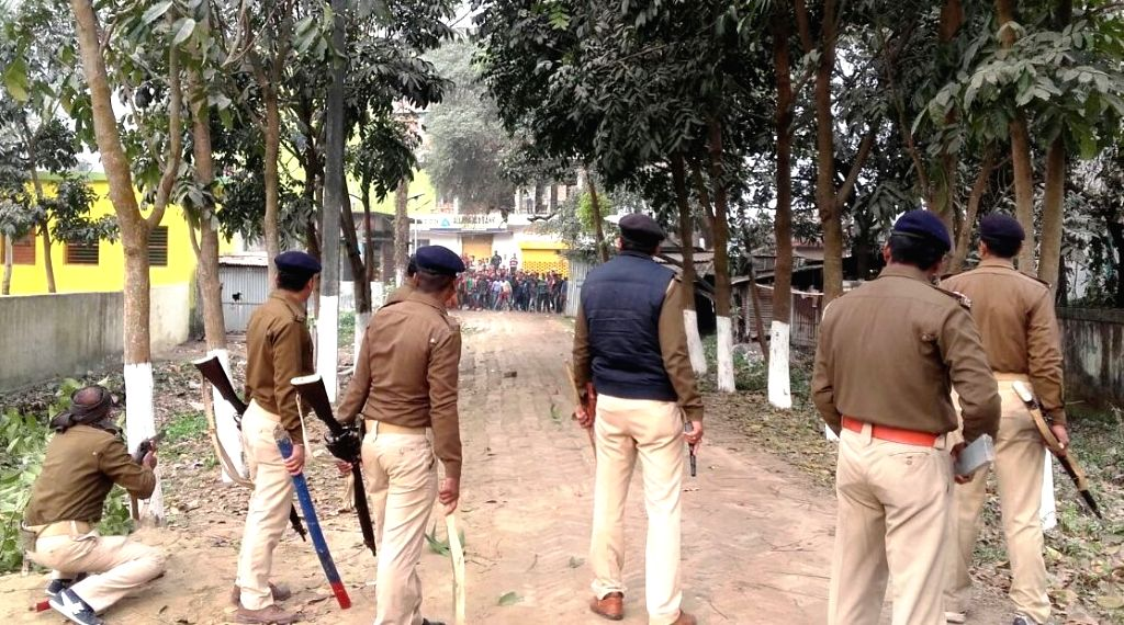 Police personnel deployed after a liquor smuggler was shot dead by police in Bihar's Katihar on Feb 14, 2018.