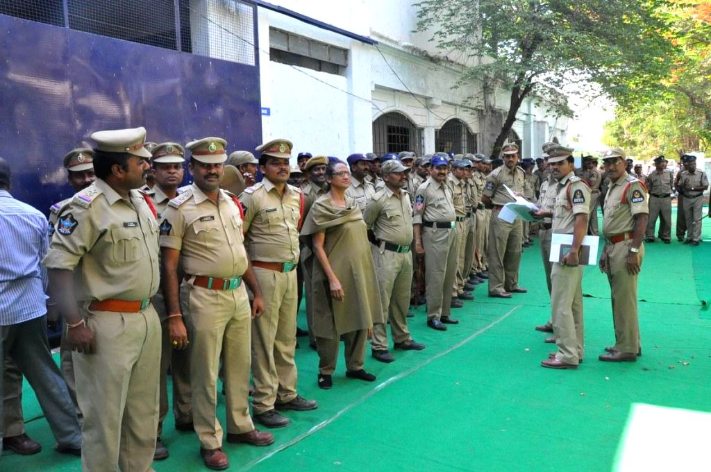 Police personnel deployed at a counting centre for 2014 Lok Sabha polls in Hyderabad on May 15, 2014.