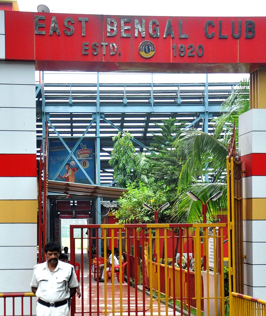 Police personnel deployed at East Bengal Football Club after Debabrata Sarkar, an official of the football club was arrested by CBI in connection with the multi-crore-rupee Saradha chit fund scam in .