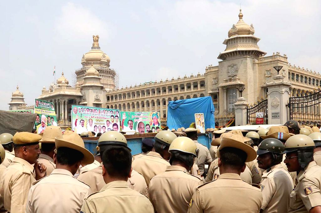 Police personnel deployed at Vidhana Soudha ahead of Janata Dal-Secular (JD-S) leader H.D. Kumaraswamy's swearing-in as the 25th Chief Minister of Karnataka, in Bengaluru on May 23, 2018.