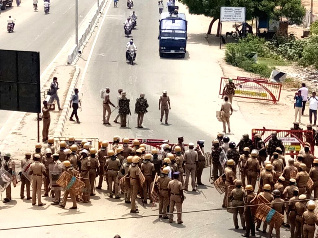 Police personnel deployed during a demonstration to press for the closure of  Vedanta's Sterlite copper smelter in Tamil Nadu's Thoothukudi district; in Tuticorin on May 22, 2018.