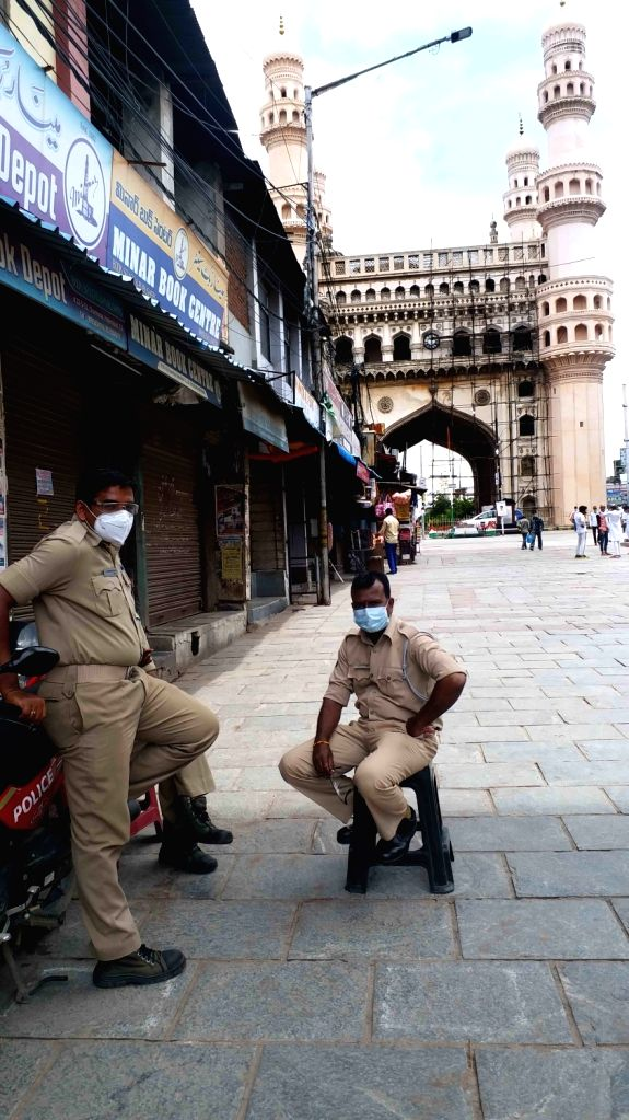 Police personnel deployed near Charminar where shops remained closed in the wake of increasing number of COVID-19 cases, in Hyderabad on July 3, 2020.