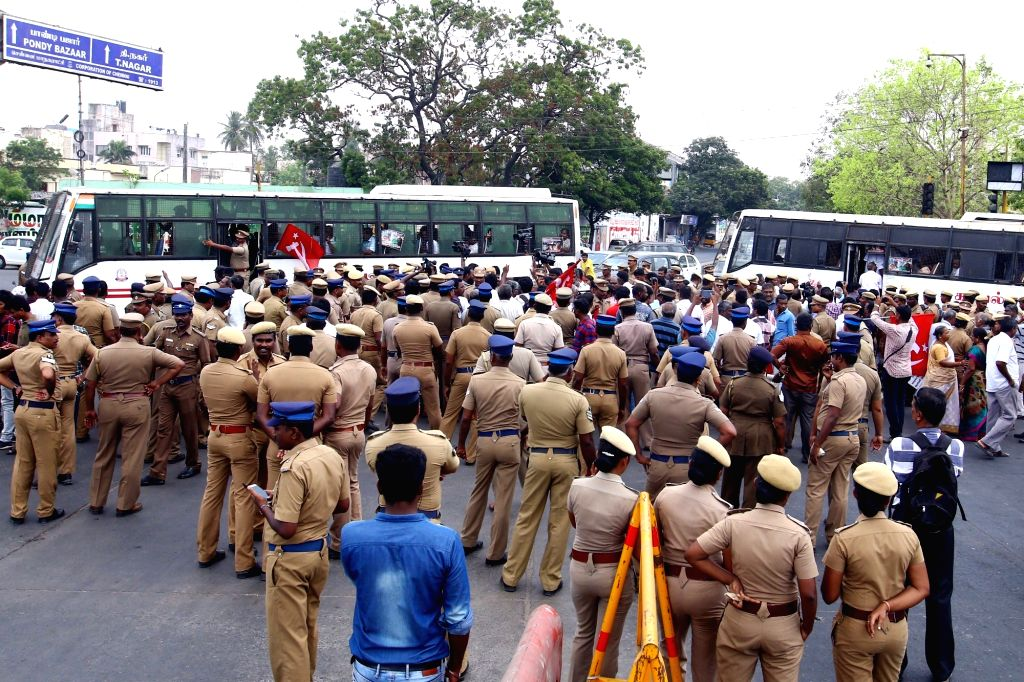 Police personnel during  a demonstration staged by CPI-M workers against the death of civilians in police firing during anti-Sterlite protests in Tamil Nadu's Toothukudi; in Chennai on May ...