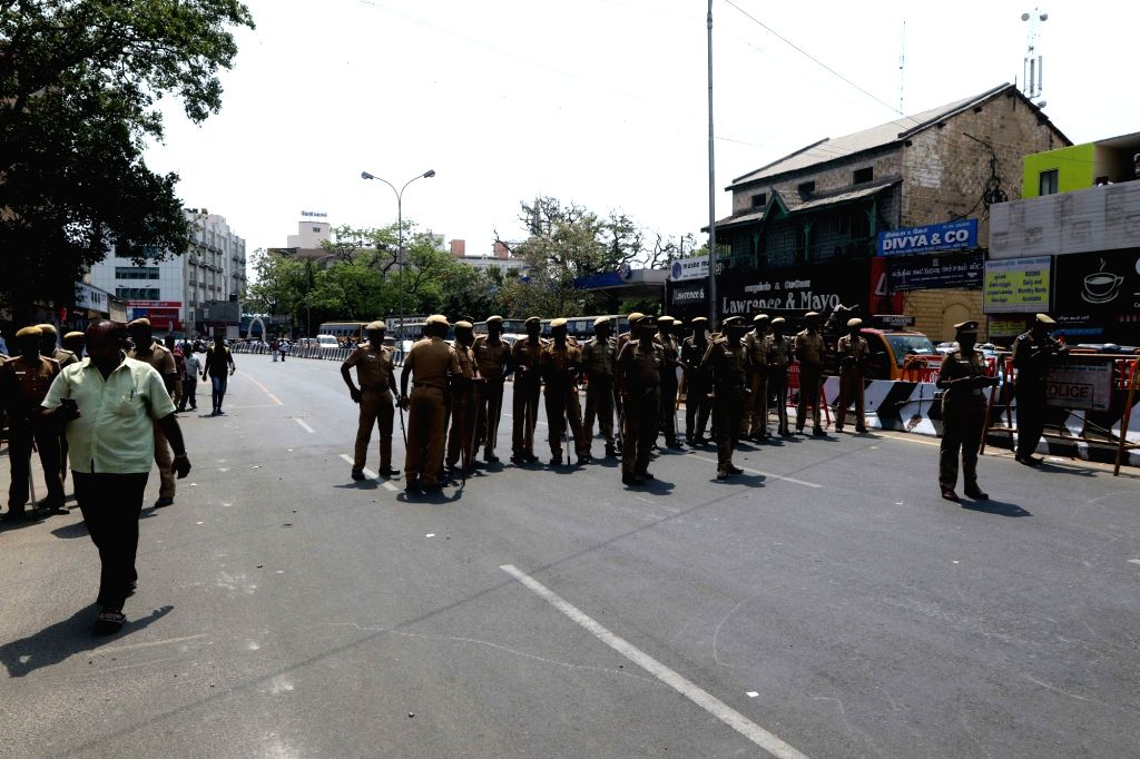 Police personnel during DMK-led shutdown strike over the Centre's failure to set up a Cauvery Management Board (CMB), in Chennai on April 5, 2018.