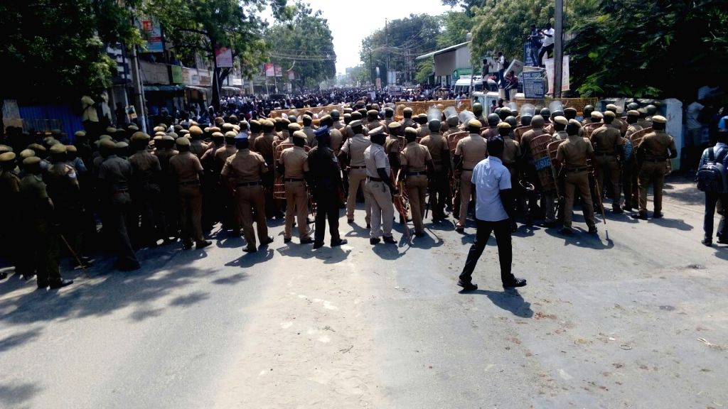 Police personnel during protests over the demand for the closure of Vedanta's Sterlite copper smelter in Tamil Nadu's Thoothukudi; in Chennai on May 22, 2018.