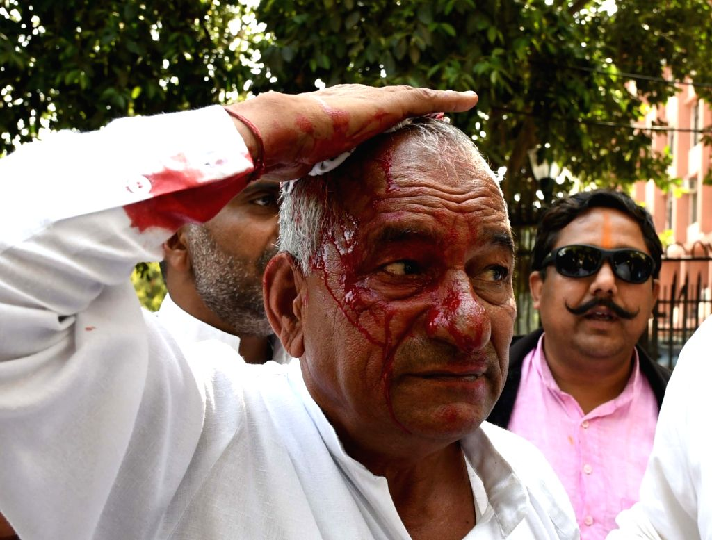 Police personnel lathicharge Indian National Lok Dal (INLD) supporters from Haryana during their Parliament Gherao march over Sutlej-Yamuna canal link between Haryana and Punjab in New ...