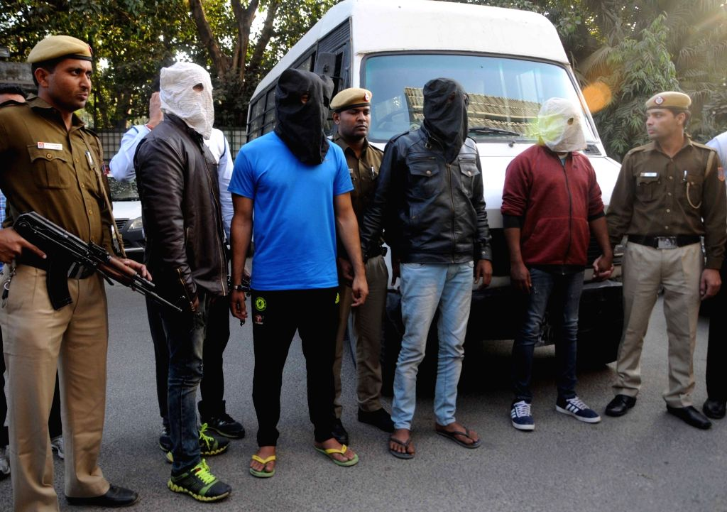 Police present before press four persons - Rohit Choudhary, 29, a resident of Aaya Nagar; Ravi, 29, a resident of Karol Bagh; and Anil Kumar and Rajesh Kumar, both 30-year-old and ... - Rohit Choudhary and Rajesh Kumar