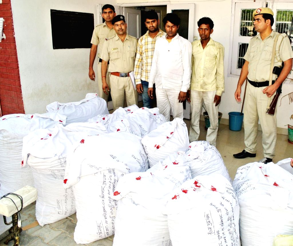 Police present before press the three persons arrested with  402 kg of cannabis valued at Rs 40 lakh from a Gurugram farmhouse on June 1, 2017. The three men were identified as Sanjay ... - Sanjay Kumar
