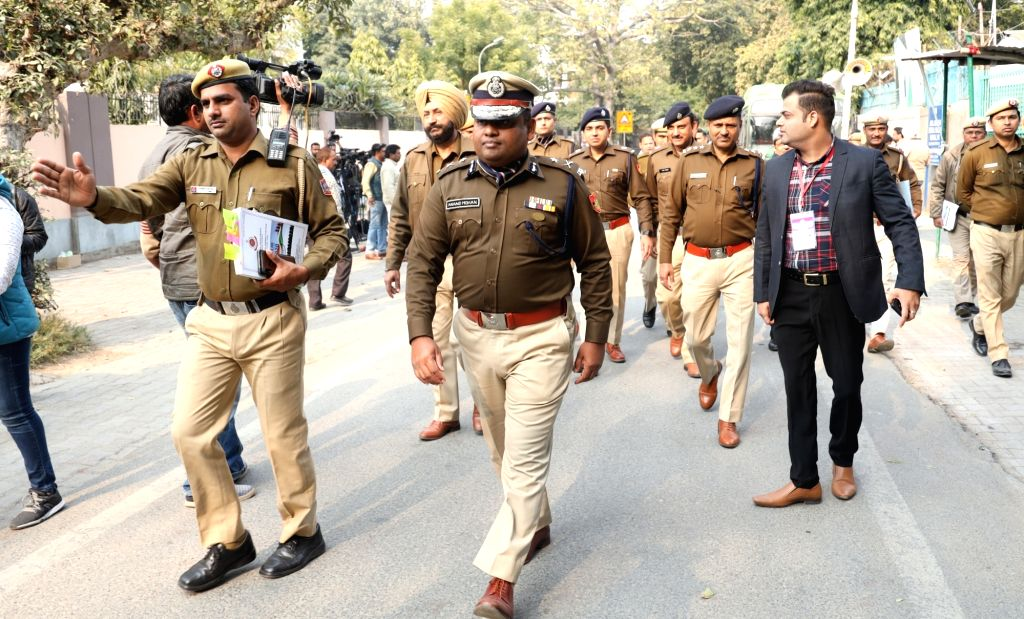 Police Security arrangements made For Upcoming Delhi Assembly Election in New Delhi on Feb 07, 2020.