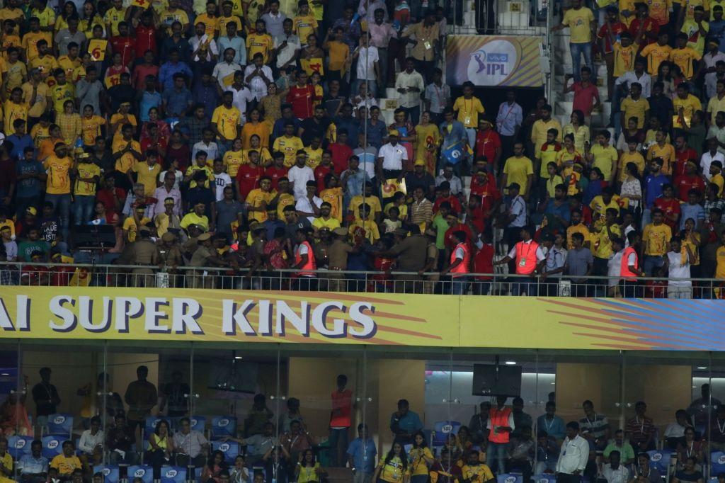 Police stop protesters demanding a Cauvery Management Board from protesting against the IPL 2018 match between Chennai Super Kings (CSK) and Kolkata Knight Riders (KKR) at MA Chidambaram ...