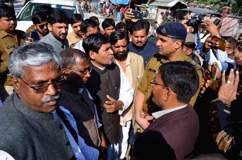 Police stops BJP leaders from visiting the site where a Dalit law student was murdered; in Allahabad on Feb 14, 2018. After a scuffle over a trivial issue at an eatery last week, ...