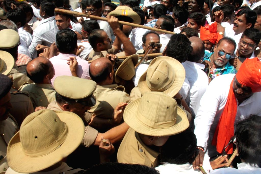 Police stops Congress' Lok Sabha candidate from Bengaluru Central, Rizwan Harshad's supporters from entering the Bruhat Bengaluru Mahanagara Palike (BBMP) office during the filing of his ...