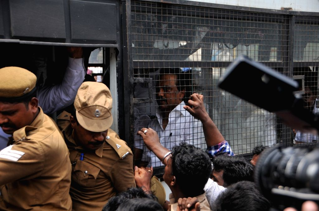 Police takes away DMK working president M.K. Stalin during his party's anti-Sterlite protests; outside Tamil Nadu Secretariat in Chennai on May 24, 2018.