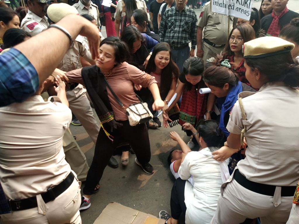 Police thwarts Kuki tribe's protest over their various demands including the inclusion of Kuki inhabited areas in the Naga Autonomous Council; in New Delhi on Oct 30, 2019.